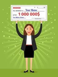 Woman with check for one million dollars in hands. Money and business, finance success rich, lottery and award, vector illustration