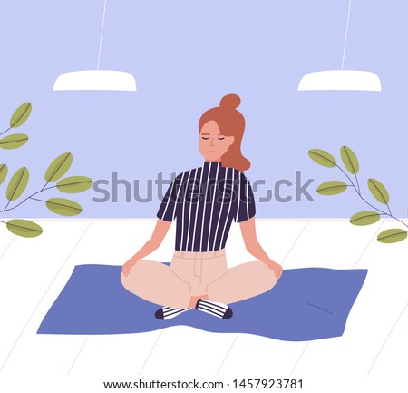 Woman with closed eyes sitting cross legged and meditating. Business meditation, relaxation at office, awareness and mindfulness, yoga and breathing exercise at work. Flat cartoon vector illustration.