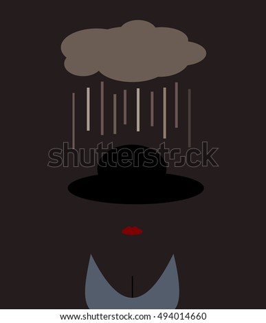 woman with cloud raining on