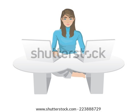woman with computers sitting