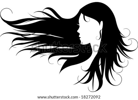 stock vector : woman with curly black hair