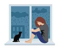 Woman with depressive thinking. Cartoon unhappy girl sitting on the windowsill. Concept of anxious feeling, vector illustration of sadness character isolated on white. Depressed woman and cat.