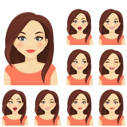 Woman with different facial expressions set