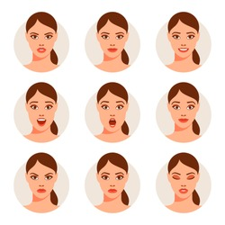 Woman with different facial expressions. Vector illustration.