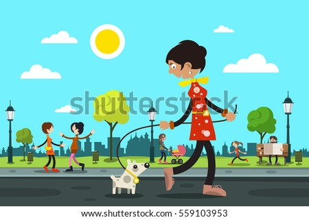 woman with dog and people in