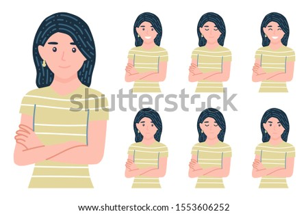 Woman with facial expressions set. Different female emotions bundle. Variety of moods. Smile, happy, anger, sad, calm. Isolated vector illustration in cartoon flat style.