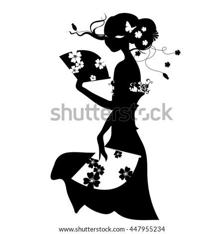 woman with fan in long dress