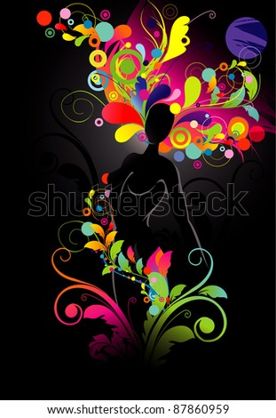 woman with flowers abstract