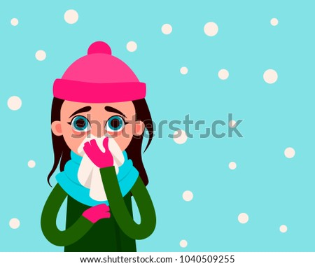 woman with flu on the