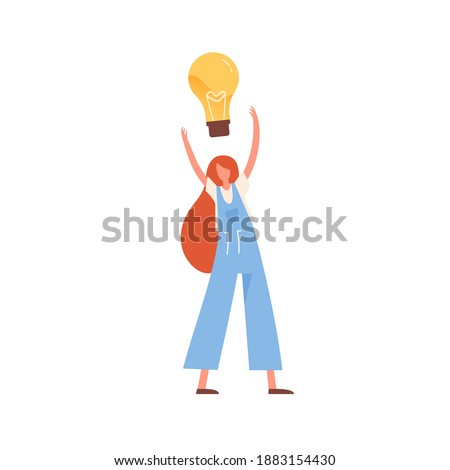Woman with giant lightbulb over head vector flat illustration. Modern female with creative imagination brainstorming or generating new idea isolated. Concept of innovation, solution and creativity