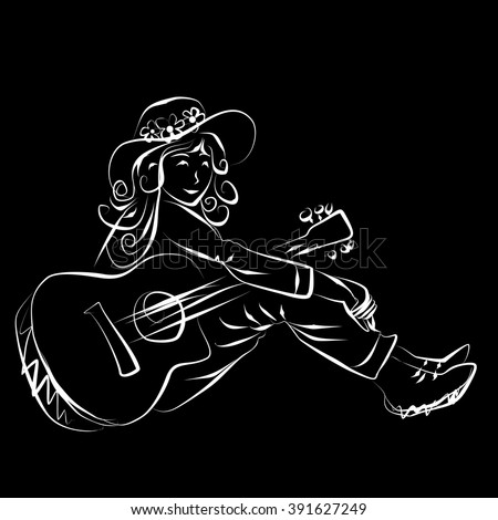 woman with guitar hand drawing