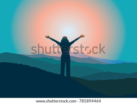 woman with hands up on the top
