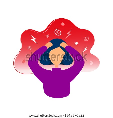 Woman with headache. Flat modern trendy style.Vector illustration character icon.Isolated on white background. Lady having migraine. Stress, worry concept.