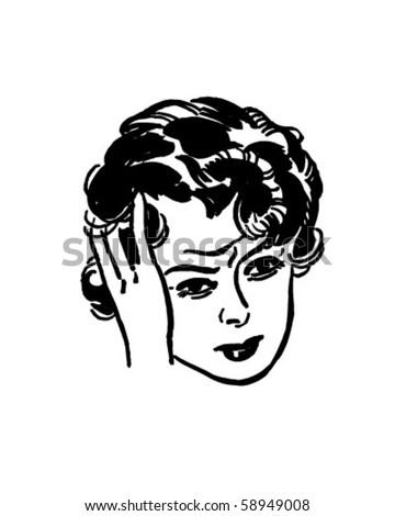 Woman With Headache - Retro Clip Art