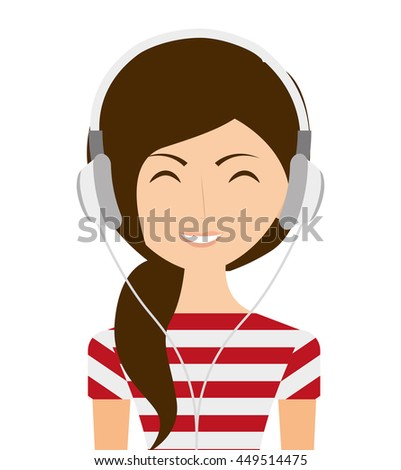 woman with headphones isolated