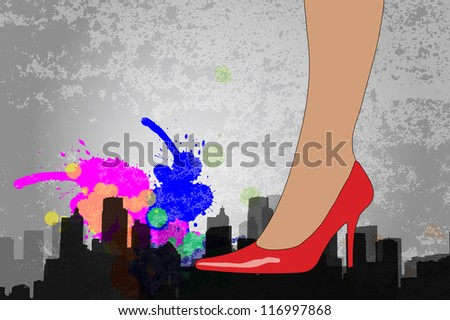 Woman with high heel stilleto shoes vector