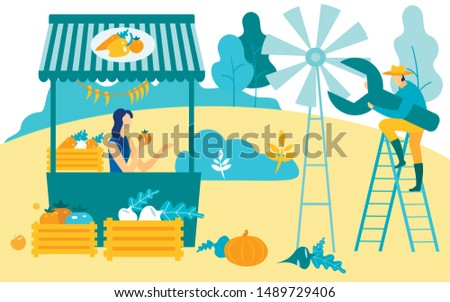 Woman with in Hands Sells Vegetable. Man on Ladder Repairing Wind Meter. Vector Illustration. Harvest Farm Products. Farm Business. Sell Product in Market. Product on Counter. Vegetable in Wooden Box.