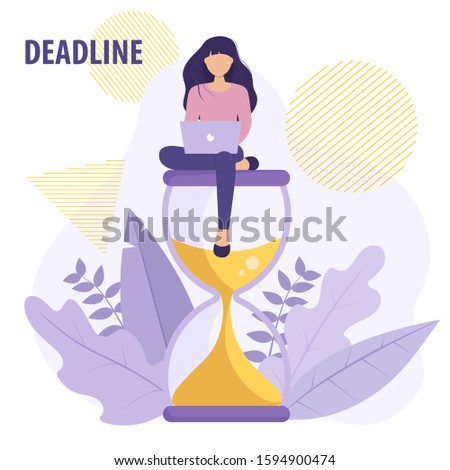 Woman with laptop sits on an hourglass and working on her business process. Business concept vector illustration in flat style. Deadline concept