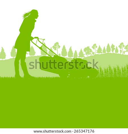 woman with lawn mover cutting