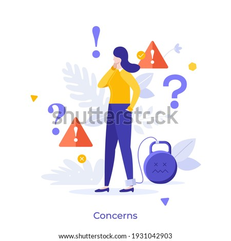 Woman with legcuffs tied to kettlebell, exclamation marks and interrogation points. Concept of concern, anxiety, worry, warning, disturbance, problem solving. Modern flat colorful vector illustration.