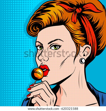 woman with lollipop candy pop