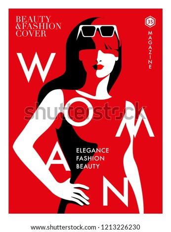 Woman with long hair wearing sunglasses. Abstract female portrait in red, white and black colors. Fashion magazine cover design. Vector illustration