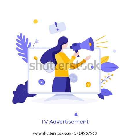 Woman with megaphone or bullhorn promoting or advertising product on television screen. Concept of TV commercial, advertisement campaign, promotion, marketing. Modern flat colorful vector illustration