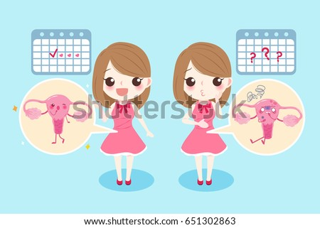 woman with menstruation problem on the blue background