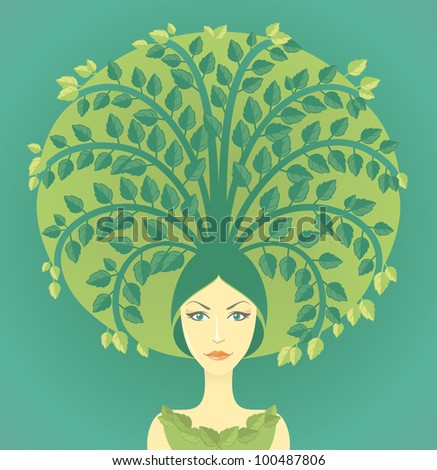 Woman with miniature tree growing from her hairs