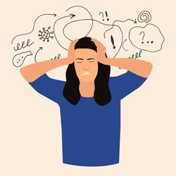 Woman with nervous problem feel anxiety and confusion of thoughts vector flat.Girl with anxiety touch head surrounded by think