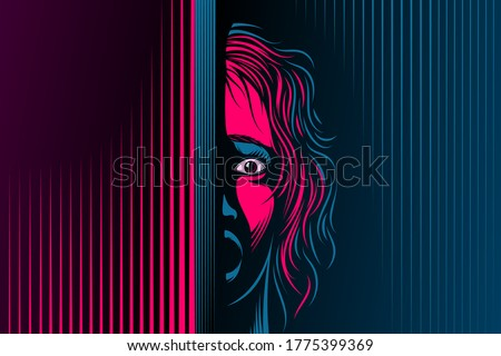 Woman with open mouth, eyes. The emotion of fear, scared on face. Girl is in shock, dumbfounded, stupor, speechless. Victim of domestic violence, abuse. Vector illustration in retro noir comics style Foto d'archivio ©