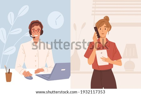 Woman with phone calling to customer support service. Operator of online consulting center during consultation with client. Colored flat vector illustration of online helpdesk or hotline