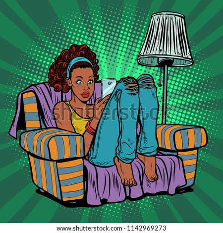 Woman with phone in chair. Pop art retro vector illustration kitsch vintage
