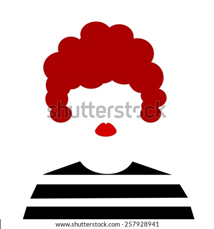 woman with red afro hair and