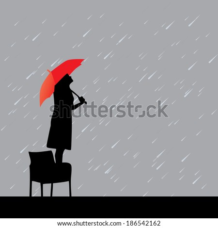 woman with red umbrella under