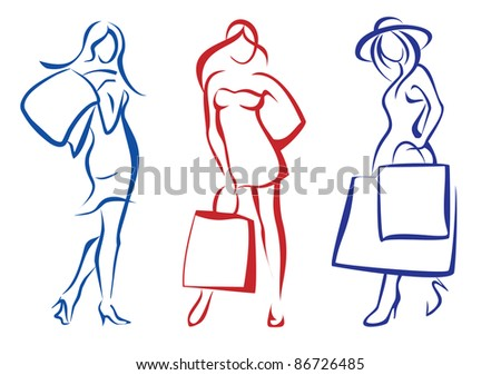 woman with shopping bag, collection of isolated illustrations