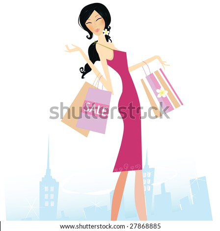 Woman with shopping bags in town.