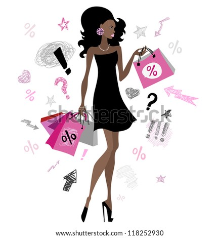 Woman with shopping bags. Vector illustration. Isolated.