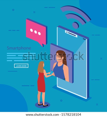 Woman with smartphone design, Digital technology communication social media internet and web theme Vector illustration
