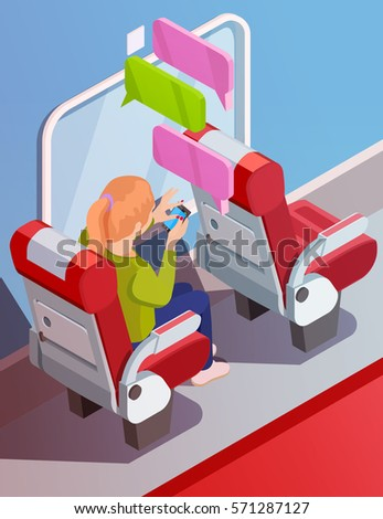 Woman with smartphone on the hands in the transport. Vector isometric