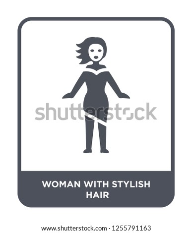 woman with stylish hair icon vector on white background, woman with stylish hair trendy filled icons from Ladies collection, woman with stylish hair simple element illustration