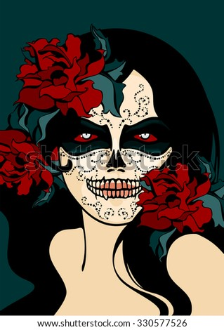 woman with sugar skull face