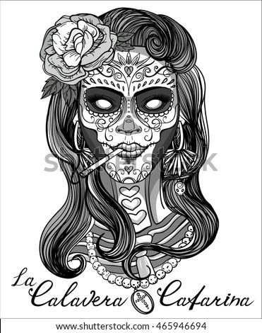 Vector Images Illustrations And Cliparts Woman With Sugar Skull