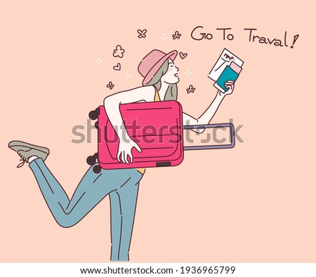 Woman with suitcase running to vacation travel, Travel concept. Hand drawn in thin line style, vector illustrations. Foto stock ©