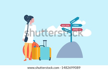 Woman with suitcases choosing holiday destination. Flat vector illustration.