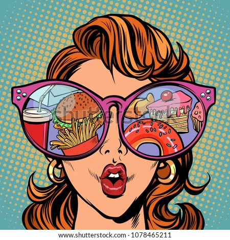 Woman with sunglasses. Fast food and sweets in the reflection. Comic cartoon pop art retro illustration vector kitsch drawing