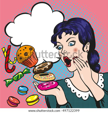 woman with sweets  candy and