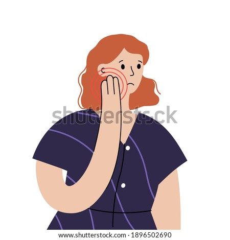 Woman with teeth pain, toothache disease concept. Cartoon character in dental clinic. Stomatology visit. Oral hygiene, medicine, pills, diagnosis and treatment isolated flat vector illustration. Foto stock ©