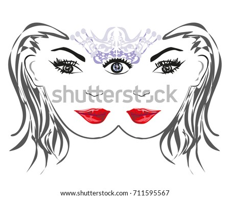 woman with third eye  psychic
