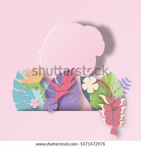woman with Tropical leaf  Summer Banner,Paper art graphic Background